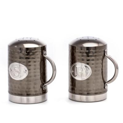 Hammered 4.5 in. Black Mirror Stovetop Salt and Pepper Set