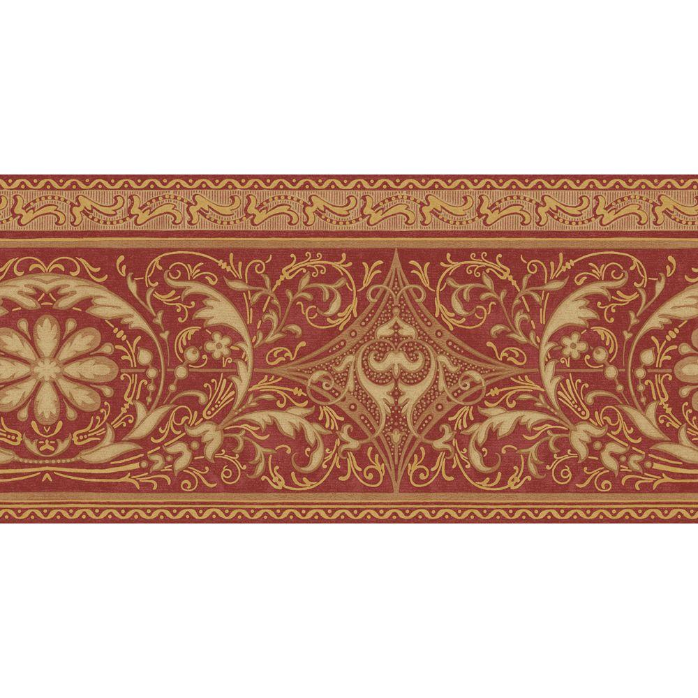 The Wallpaper Company 10.25 in. x 15 ft. Red and Gold Filigree Scroll Border
