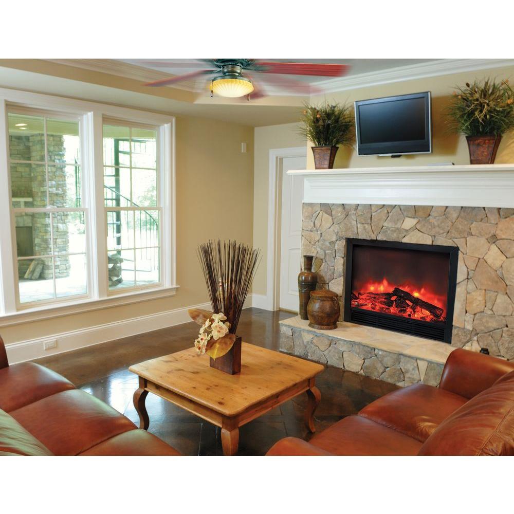 Yosemite Home Decor Triton 33 in. Widescreen Electric Fireplace Insert in Black