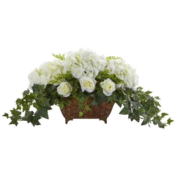 Nearly Natural Indoor Hydrangea and Roses Artificial Arrangement in Metal Planter