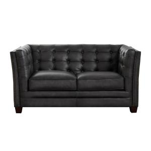 Bangor 65 in. Gray Leather 2-Seater Loveseat with Removable Cushions