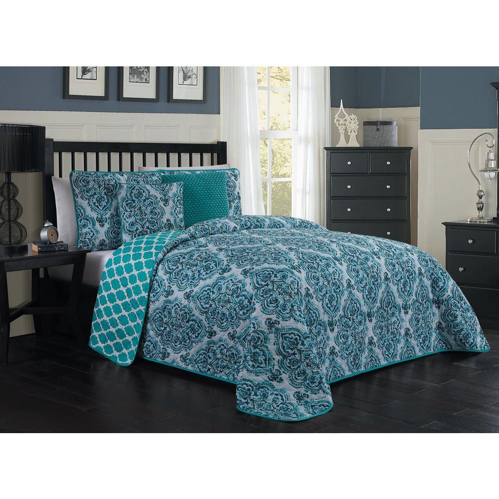 Teagan Blue Queen Quilt Set (5-piece)