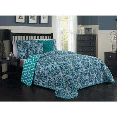 Teagan Blue Queen Quilt Set (5-piece)