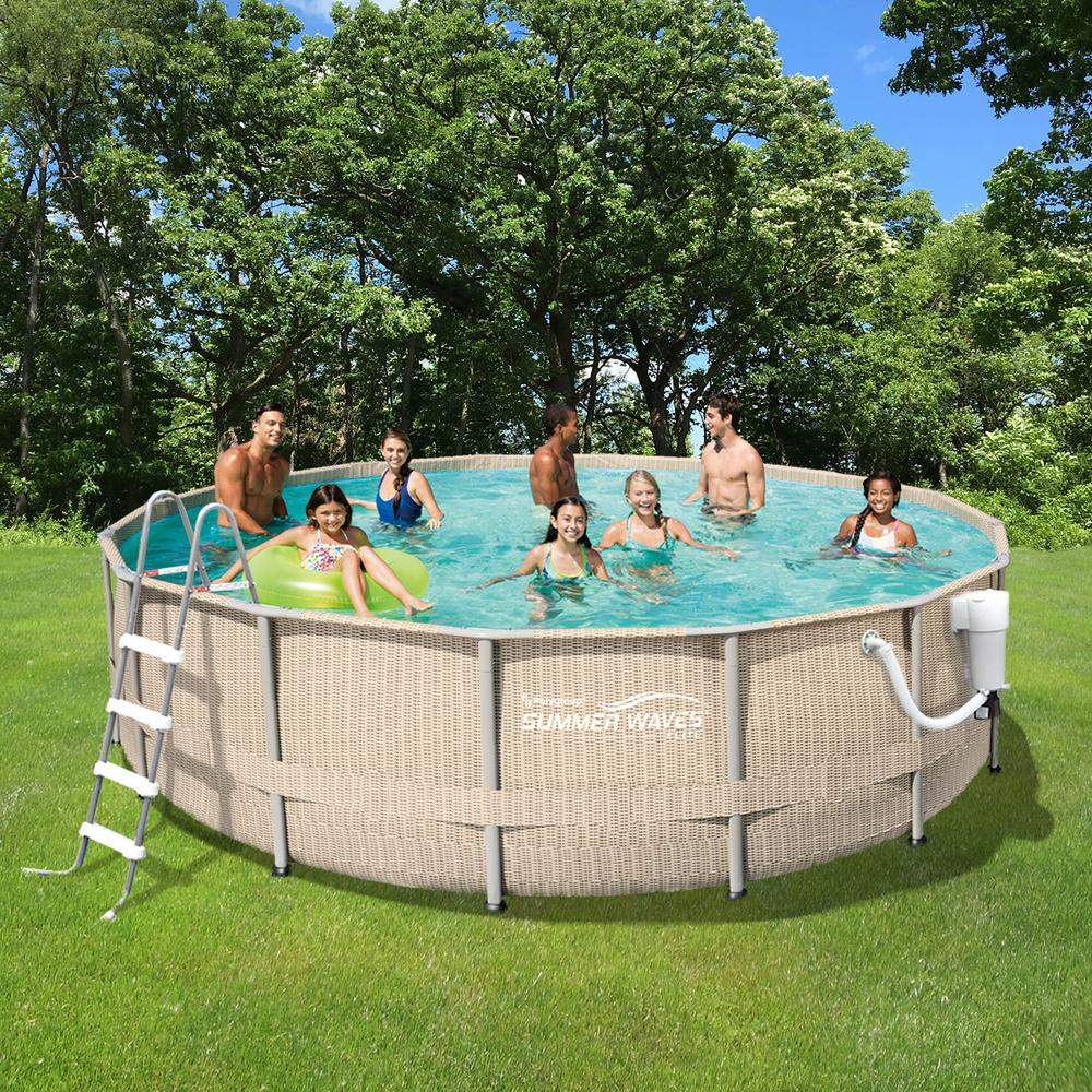 Summer waves elite light wicker 15 ft round 48 in d - Above ground swimming pool rental ...