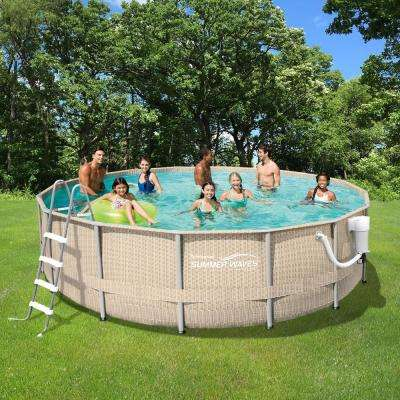 Light Wicker 15 ft. Round x 48 in. Deep Metal Frame Above Ground Pool Package