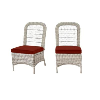 Beacon Park Gray Wicker Outdoor Patio Armless Dining Chair with Sunbrella Henna Red Cushions (2-Pack)