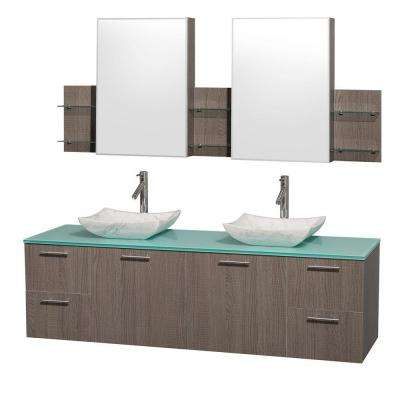 Amare 72 in. Double Vanity in Grey Oak with Glass Vanity Top in Aqua and Carrara Marble Sinks and Mirror