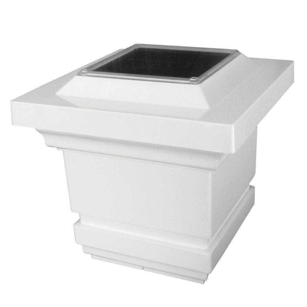 4 in. x 4 in. White PVC Classy Outdoor Solar Post