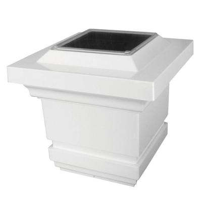 4 in. x 4 in. White PVC Classy Outdoor Solar Post Cap (2-Pack)