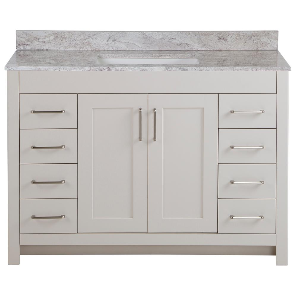 Home Decorators Collection Westcourt 49 in. W x 22 in. D Bath Vanity in Cream with Stone Effect Vanity Top in Winter Mist with White Sink