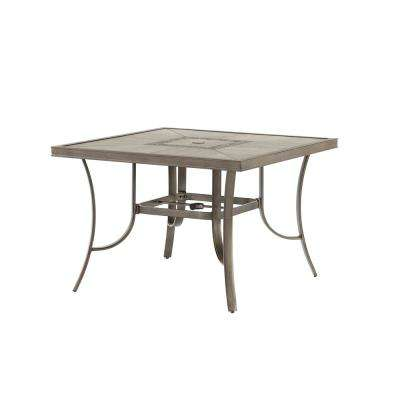 Wilshire Estates 1-Piece Aluminum Grouted Tile Top Outdoor 42 in. Square Dining Table