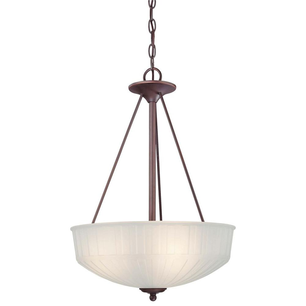 Minka Lavery 1730 Series 3 Light Lathan Bronze Bowl Pendant