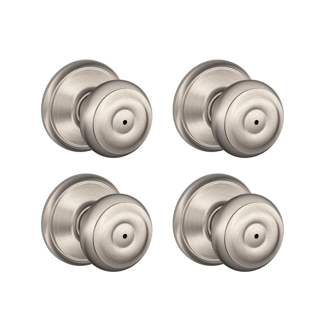 Gentil Schlage Georgian Satin Nickel Privacy Bed/Bath Door Knob (4 Pack)