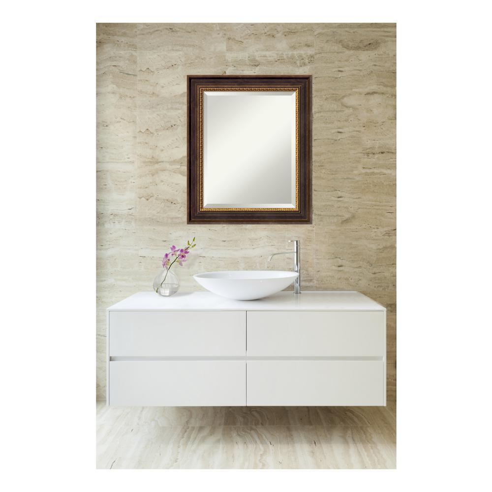 Veneto Distressed Black Wood 21 in. W x 25 in. H Single Traditional Bathroom Vanity Mirror