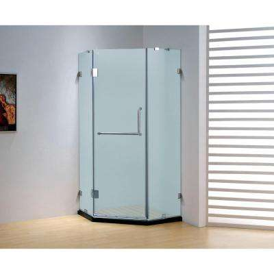 36 in. x 79 in. Frameless Neo-Angle Hinged Shower Door in Chrome with Handle
