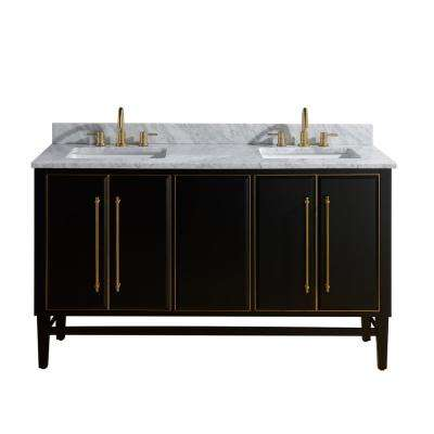 Mason 61 in. W x 22 in. D Bath Vanity in Black with Gold Trim with Marble Vanity Top in Carrara White with White Basins