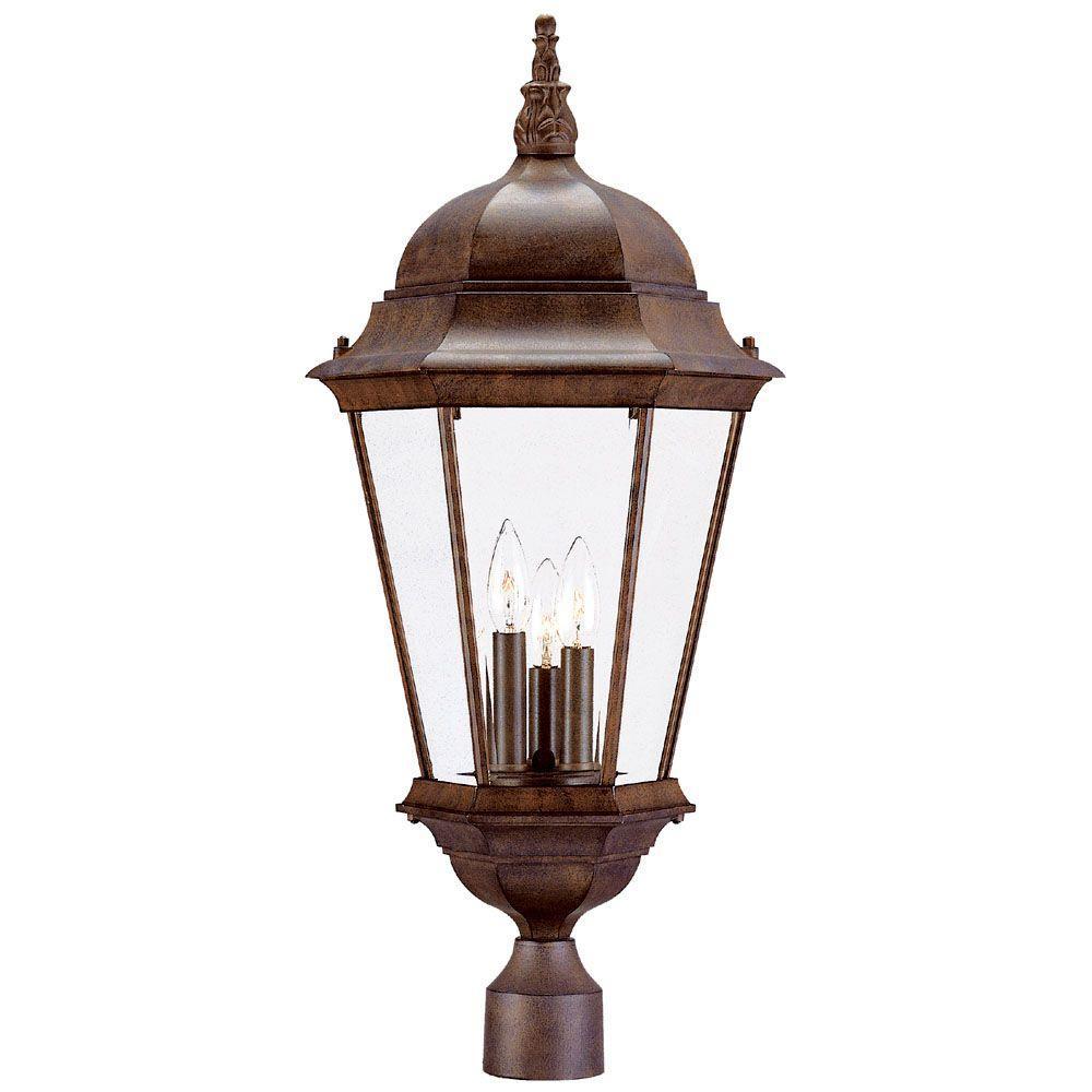 Richmond 3-Light Burled Walnut Outdoor Post-Mount Light Fixture