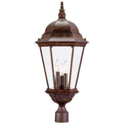 Richmond 3-Light Burled Walnut Outdoor Post-Mount Light Fixture