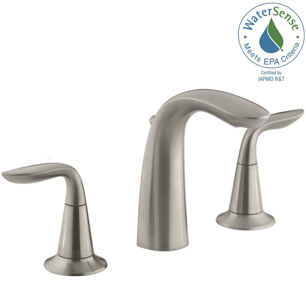 Charmant Widespread 2 Handle Bathroom Sink Faucet In Brushed Nickel