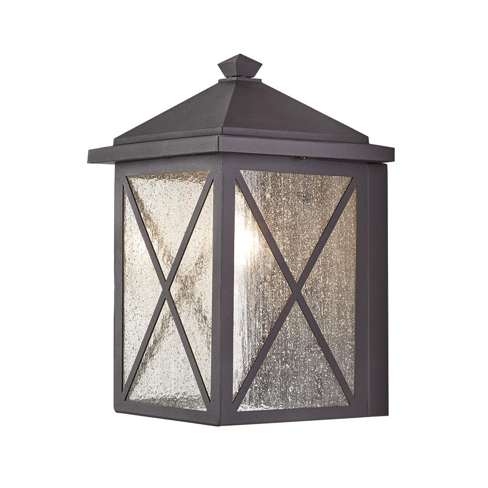 Home Decorators Collection Criss Cross 1 Light Black Medium Outdoor Wall Mount Lantern With