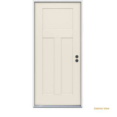 36 in. x 80 in. 3-Panel Craftsman Primed Steel Prehung Left-Hand Inswing Front Door
