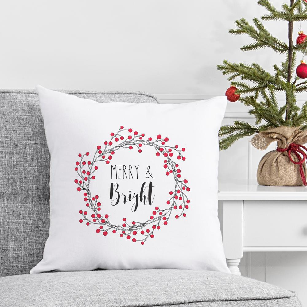 17 in. Christmas Throw Pillow with Merry and Bright Design-H17 ...