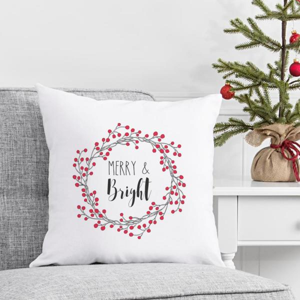 Christmas Throw Pillow with Merry and Bright Design