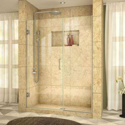 Unidoor Plus 47 in. to 47-1/2 in. x 72 in. Frameless Hinged Shower Door in Brushed Nickel
