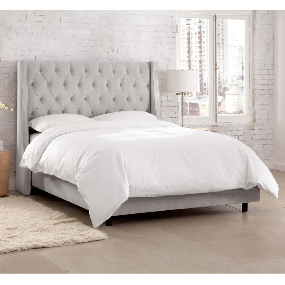 Queen Gray Beds Headboards Bedroom Furniture The Home Depot