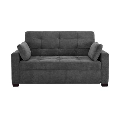 Harrington 37.6 in. Grey Polyester 2-Seater Convertible Tuxedo Sofa with Round Arms