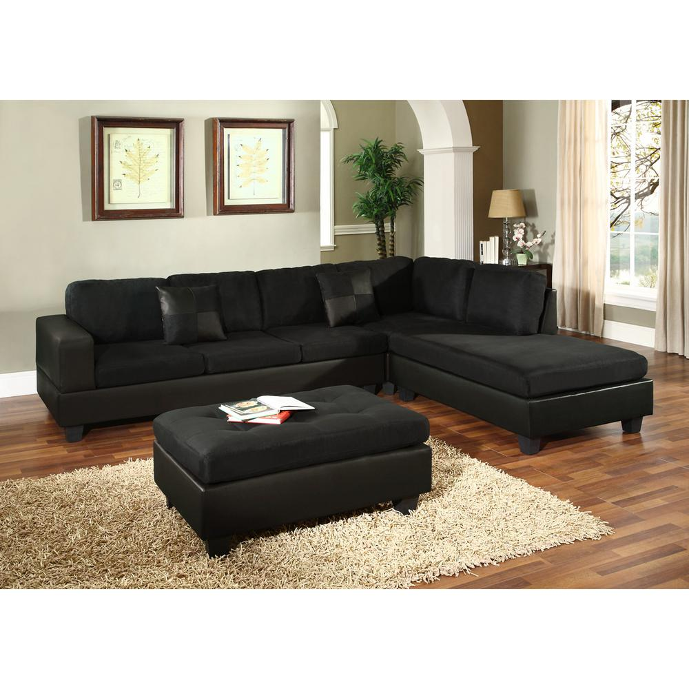 Black microfiber sectional sofa furniture chaise couch for Microfiber sectional sofa