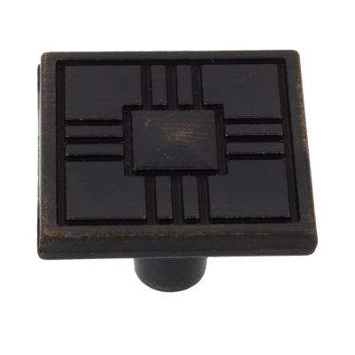 1-1/4 in. Oil Rubbed Bronze Craftsman Collection Square Cabinet Knobs (10-Pack)