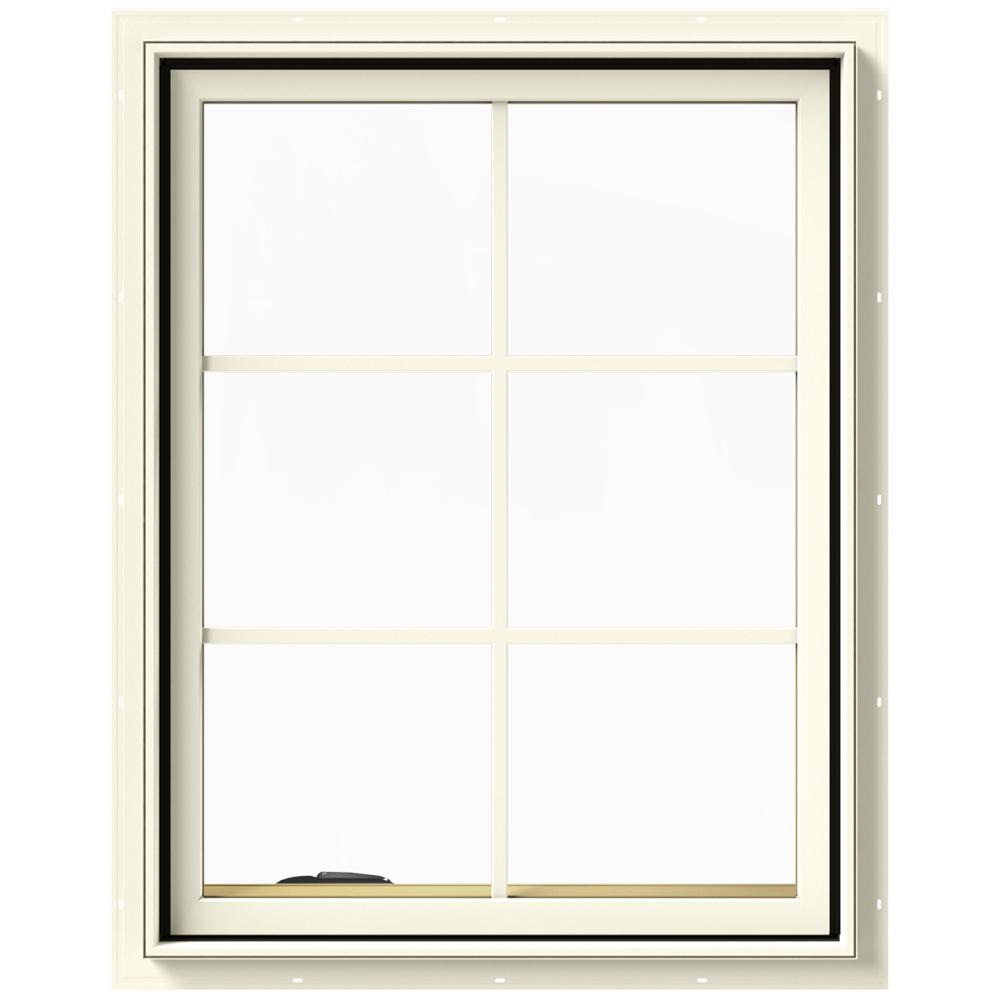 JELD-WEN 28 in. x 36 in. W-2500 Series Cream Painted Clad Wood Left-Handed Casement Window with Colonial Grids/Grilles