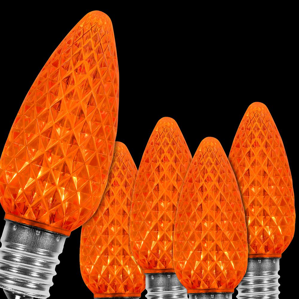 Wintergreen Lighting Opticore C9 Led Orange Faceted Replacement Bulbs 25 Pack