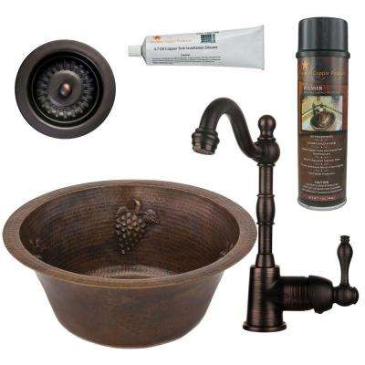 All-in-One Dual Mount Copper 16 in. 0-Hole Round Bar/Prep Sink with Grapes in Oil Rubbed Bronze
