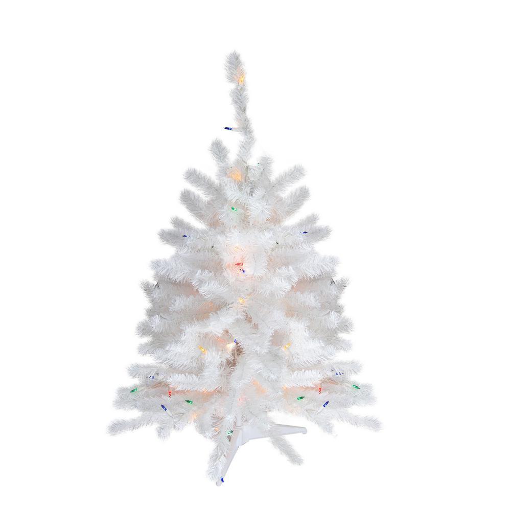 3 ft. Pre-Lit Snow White Artificial Christmas Tree - Multi Lights