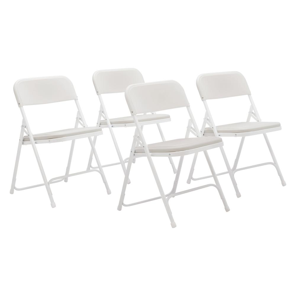 National Public Seating NPS 800 Series Premium White Lightweight Plastic  Folding Chair (Pack Of 4