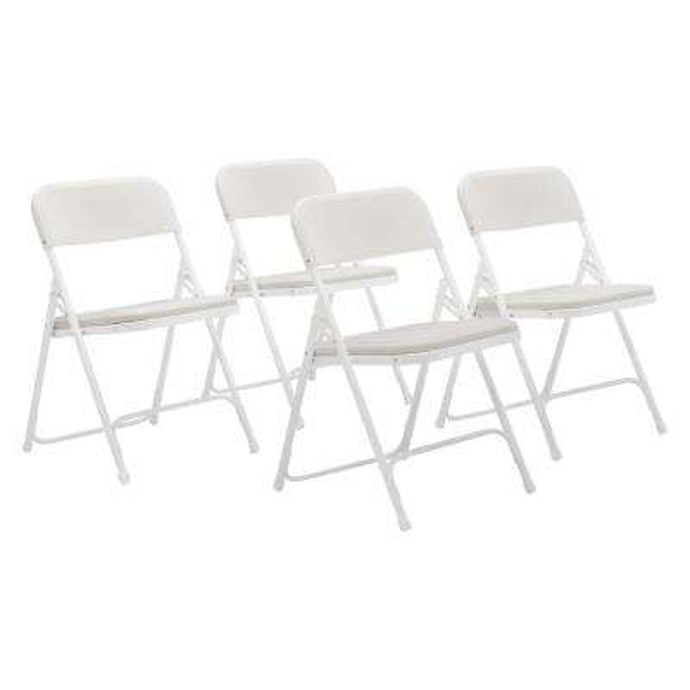 NPS 800 Series Premium White Lightweight Plastic Folding Chair (Pack of 4)