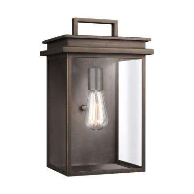 Glenview 1-Light Antique Bronze Outdoor 14.75 in. Wall Lantern Sconce