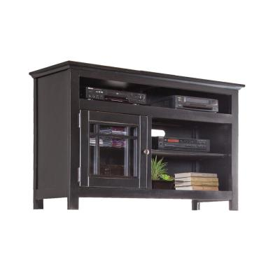 Emerson Hills 54 in. Black Wood TV Stand Fits TVs Up to 60 in. with Storage Doors
