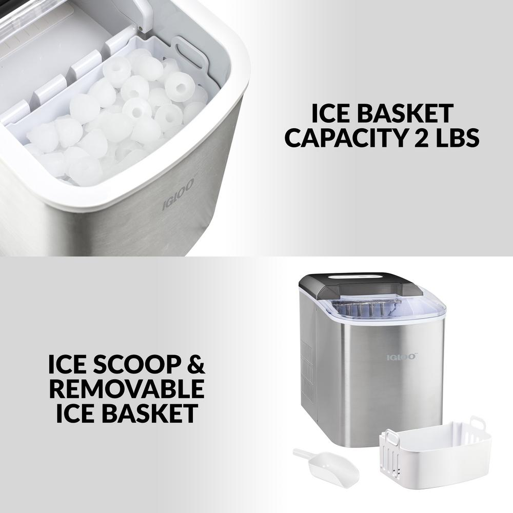 Stainless Steel /& 4 Ounce Stainless Steel Ice Scoop Igloo ICE103 Counter Top Ice Maker with Over-Sized Ice Bucket