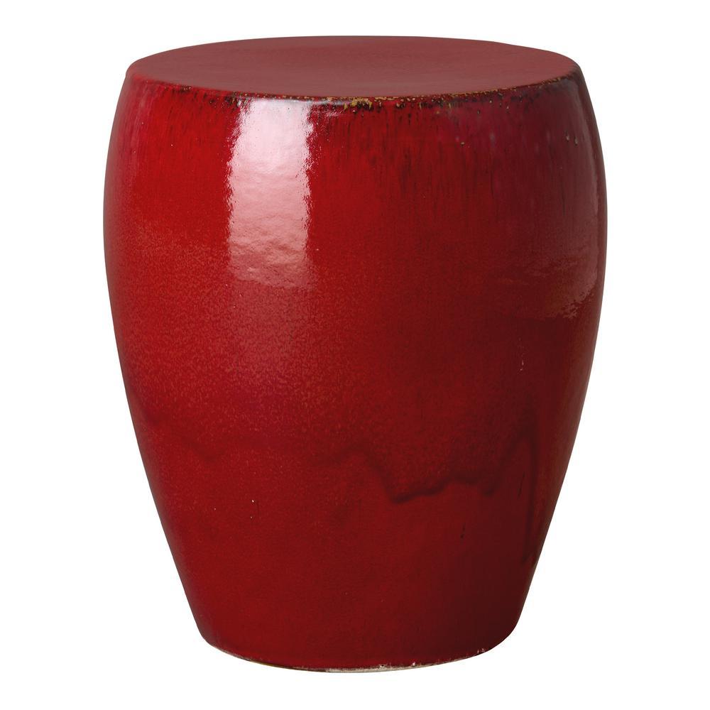 Excellent Round Red Ceramic Garden Stool Machost Co Dining Chair Design Ideas Machostcouk