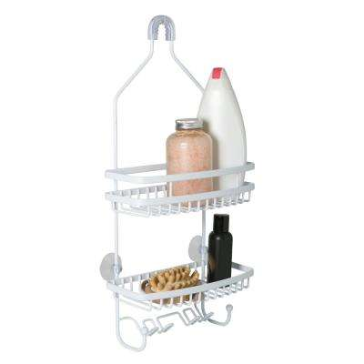 PE Coated Flat Wire Shower Caddy - Venice - White
