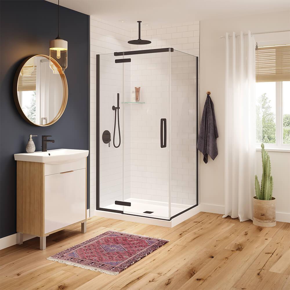 Hana 42 in. x 34 in. x 75 in. Frameless Rectangular Pivot Shower Door in Dark Bronze