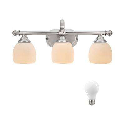 Cedar Cove 3-Light Brushed Nickel Vanity Light with Etched Opal Glass Shades, Dimmable LED Daylight Bulbs Included
