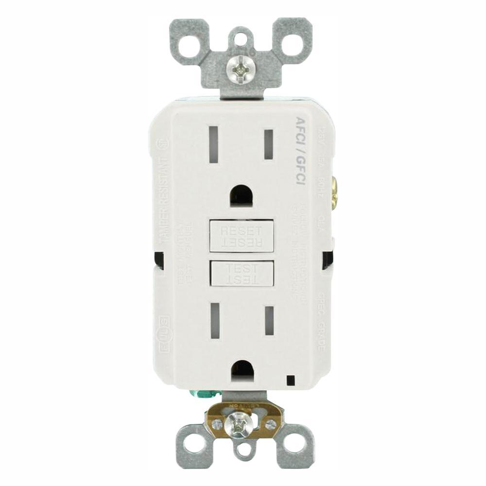 15 Amp 125-Volt Duplex Self-Test SmartlockPro Tamper Resistant AFCI/GFCI Dual Function Outlet, White (3-Pack)