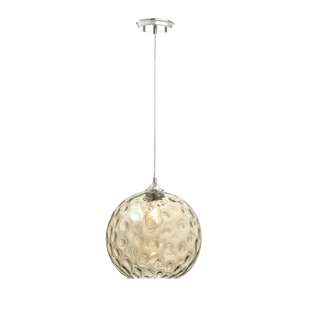 Home Decorators Collection Amber Water Glass 1-Light Chrome Pendant
