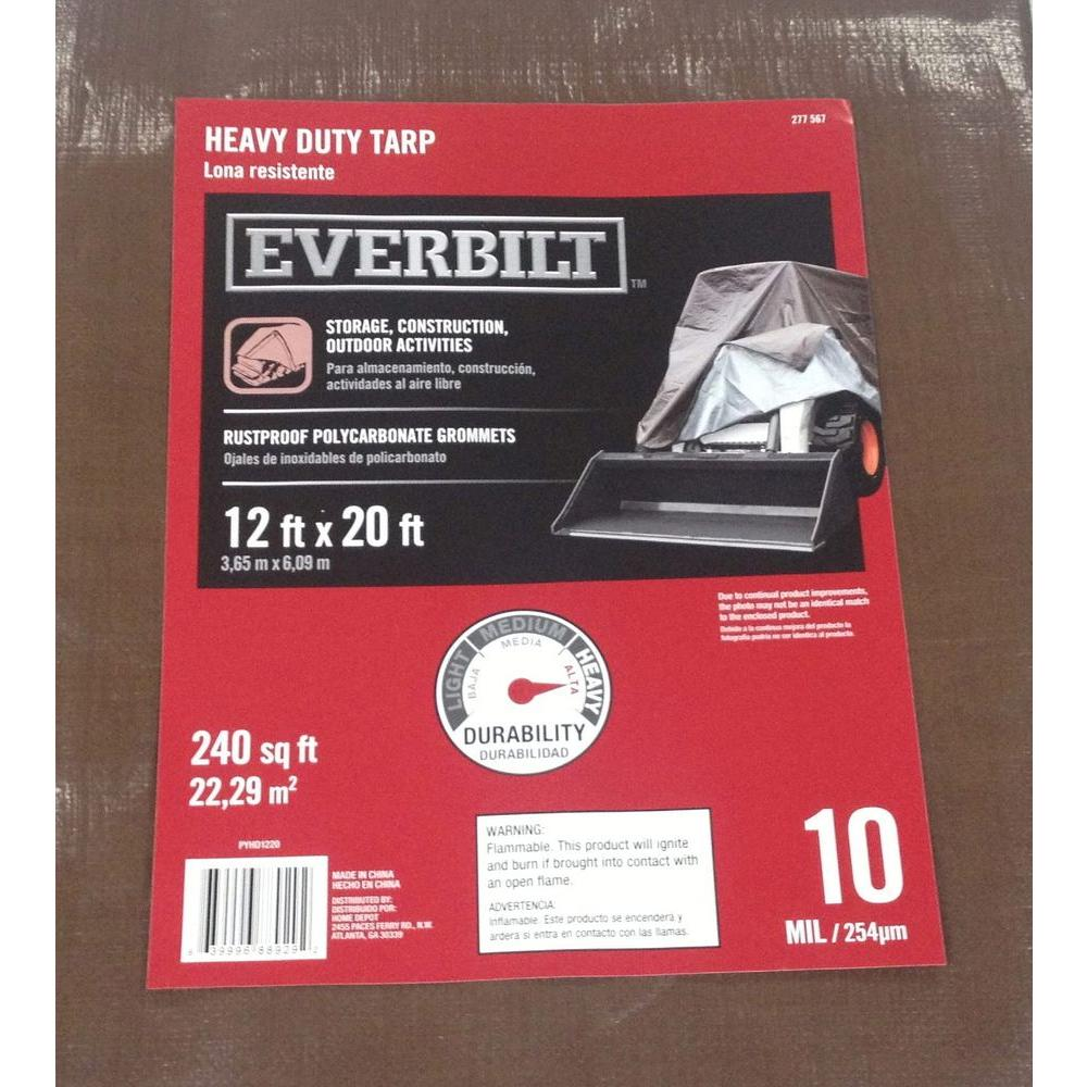 Everbilt 12 ft. x 20 ft. Heavy-Duty Silver/Brown Tarp