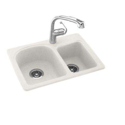Drop-In/Undermount Solid Surface 25 in. 1-Hole 60/40 Double Bowl Kitchen Sink in Tahiti Ivory