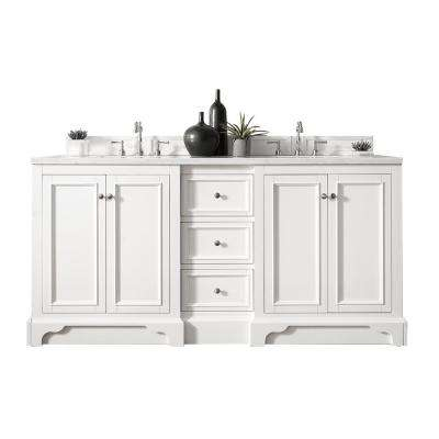 De Soto 72 in. W Double Vanity in Bright White with Soild Surface Vanity Top in Arctic Fall with White Basin